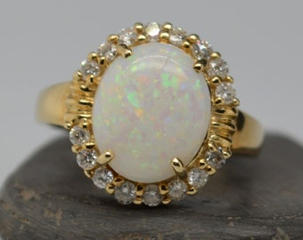 Large 9ct Gold Australian Opal and Diamond Ring, Opal Statement Ring
