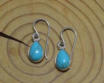 Silver Turquoise Drop Earrings, Turquoise Teardrop Dangle Earrings