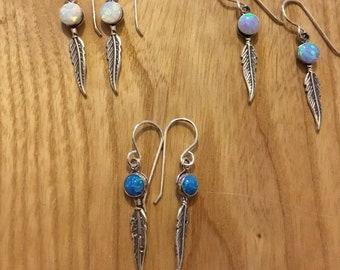 Silver Feather Earrings, Opal, Drop Earrings