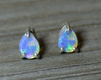 Australian Opal Stud Earrings, Teardrop Crystal Opals