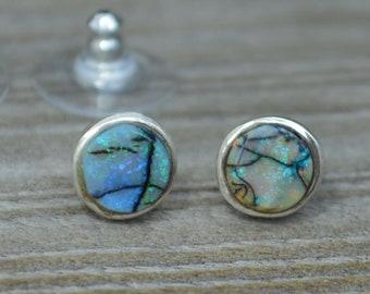 Boulder Opal Silver Earrings, Mismatched Opals
