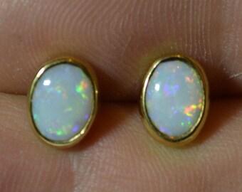 9ct Gold Oval Opal Stud Earrings, Australian Opals