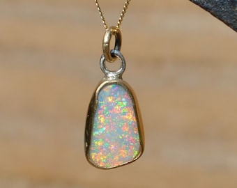 9ct Gold and Silver Opal Pendant, Australian Crystal Opal
