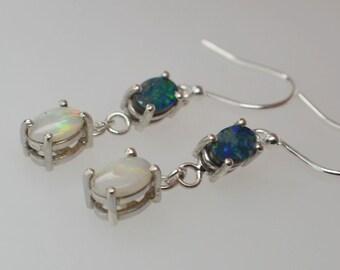 Australian Opal Silver Drop Earrings, Blue Opal Doublets