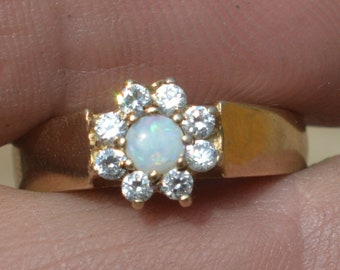 9ct Gold Opal and Cubic Zirconia Cluster Ring