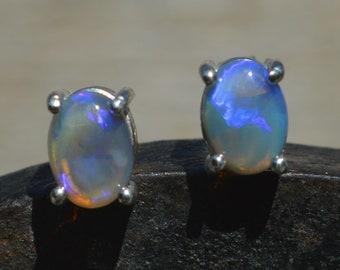 Black Opal and Silver Stud Earrings, Australian Crystal Opals
