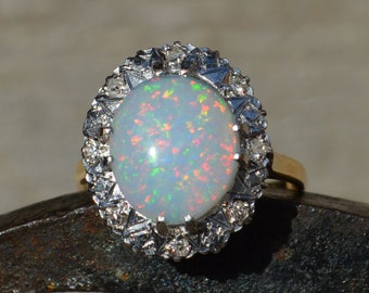 Large 9ct Gold Opal and Diamond Cluster Ring, Australian Crystal Opal