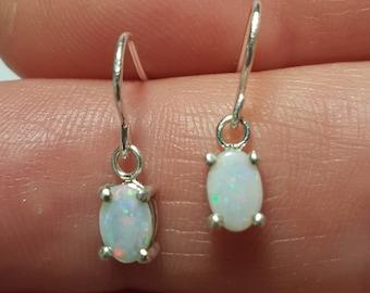 Silver Oval Opal Drop Earrings, Dainty