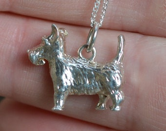 Solid Silver Terrier Pendant, Small
