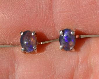 Dainty Australian Black Opal and Silver Earrings