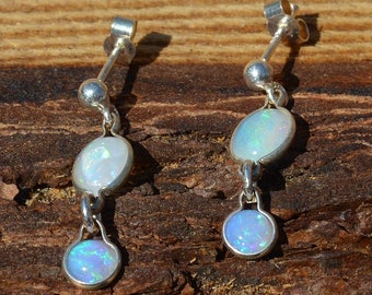 Silver and Opal Earrings, Mismatched Opals