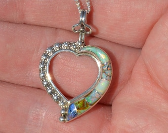 Silver and Opal Heart Pendant, Inlaid