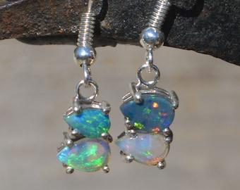 Mismatched Silver Australian Opal Teardrop Earrings, Opal Doublets and Crystal Opals