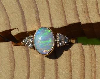 Gold Opal and Diamond Ring, Opal Diamond Ring
