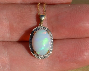 9ct Gold Opal and Diamond Pendant, Australian Opal