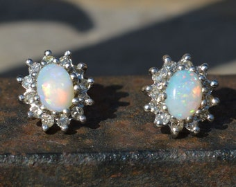 9ct Gold Australian Opal Diamond Earrings, Cluster Earrings