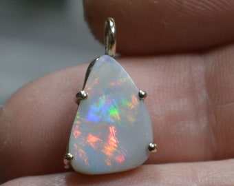9ct Gold Australian Opal Pendant, Fierce Reds