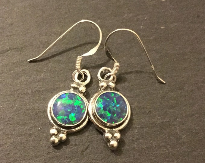 Sterling Silver, Round Lab Opal Drop Earrings, Blue