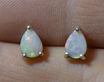 Teardrop Silver Australian Opal Stud Earrings, Crystal Opal