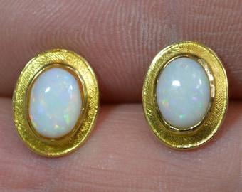 Large 18ct Gold Australian Opal Stud Earrings, Oval