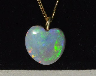 Black Opal Heart Pendant, 18ct Gold Pendant and Chain