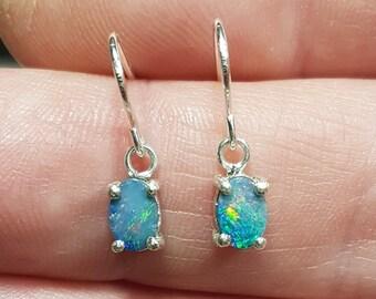 Australian Opal Doublet Drop Earrings, Dainty