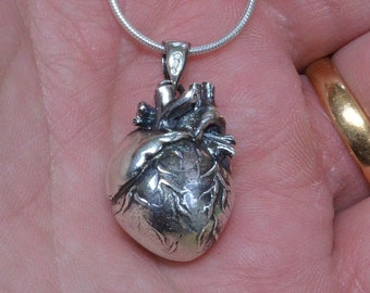 Sterling Silver Anatomical Heart, Polished Sacred Heart