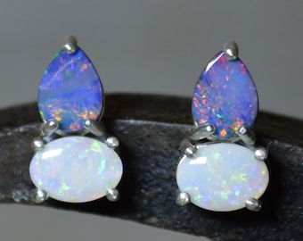 Australian Opal Silver Stud Earrings