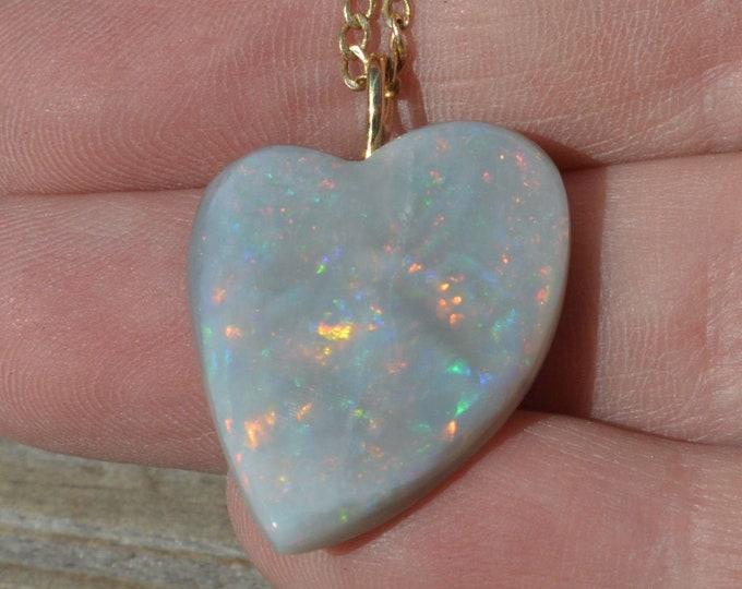 Featured listing image: 18ct Gold Mintabie Opal Heart Pendant, Large Australian Opal, 22.3Carats