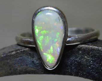 Large Teardrop Silver and Opal Ring, Lightning Ridge Opal