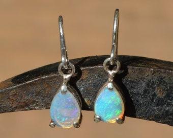 Silver Australian Opal Teardrop Earrings