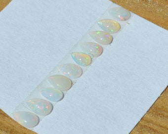 Natural Loose Australian Opal Teardrop Cabochons, Total of 10