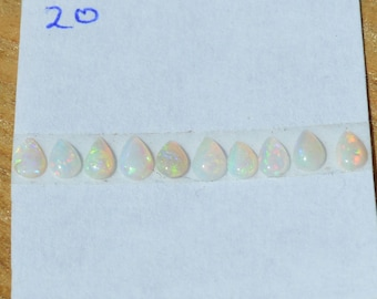Australian Opal Teardrop Cabochons, Total of 10