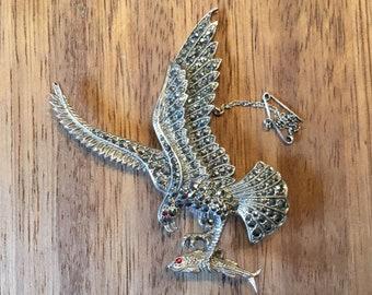 Vintage Silver Marcasite Golden Eagle Brooch