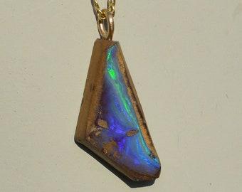 Large 9ct Gold Boulder Opal Pendant, Australian Opal