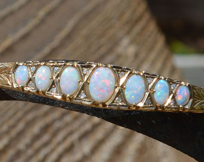 Featured listing image: Vintage Gold Opal and Diamond Bangle, 9ct Gold