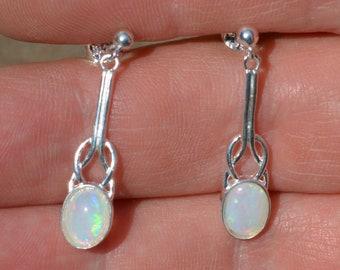 Celtic Silver Opal Drop Earrings, Australian Opals