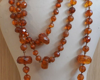 Antique Victorian Amber Necklace, Hand Cut Graduated Amber Beads. 56 Inches