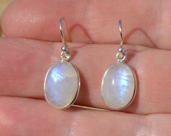 Silver Labradorite Oval Earrings