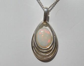 Silver Oval Opal Pendant, Australian Opal