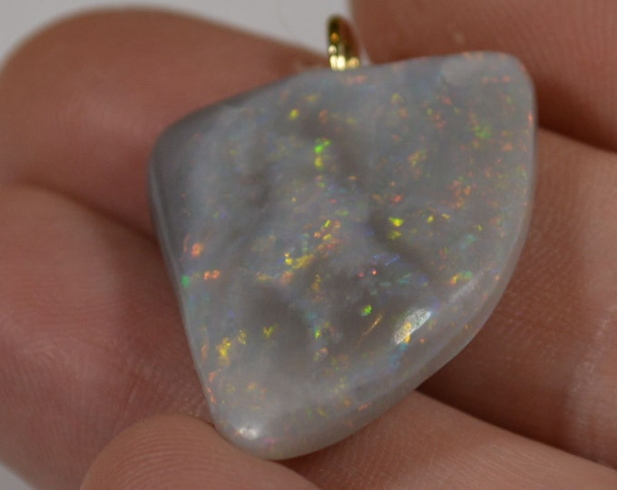 Featured listing image: 18ct Gold Mintabie Opal Pendant, Large Double Sided Australian Opal