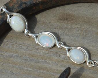Sterling Silver Australian Opal Bracelet, Mismatched Opals