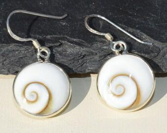Round Silver Shiva Shell Earrings