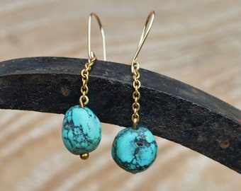 Antique 9ct Gold Turquoise Earrings