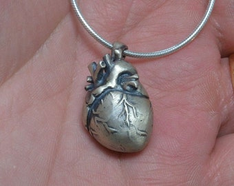 Sterling Silver Anatomical Heart, Satin Sacred Heart