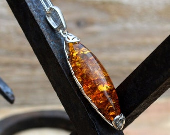Long Silver Amber Pendant and Chain