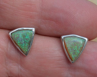 Triangle Silver Boulder Opal Earrings