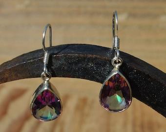 Silver and Mystic Tourmaline Teardrop Earrings