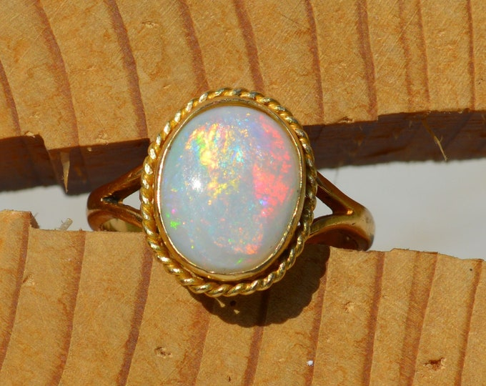 Featured listing image: SOLD.                              Vintage 22ct Gold Large Australian Opal Ring, c1938