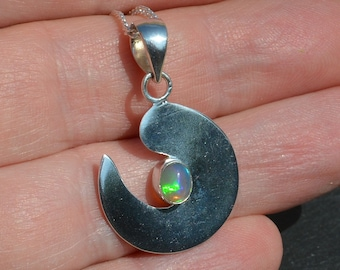 Silver and Welo Opal Pendant with chain
